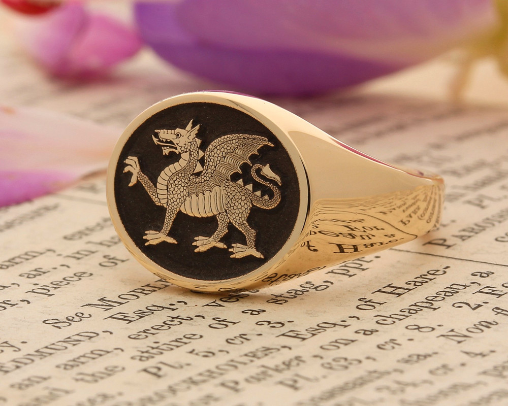 BUFFS (Royal East Kent Regiment) Silver or 9ct Gold Signet Ring Aged Finish