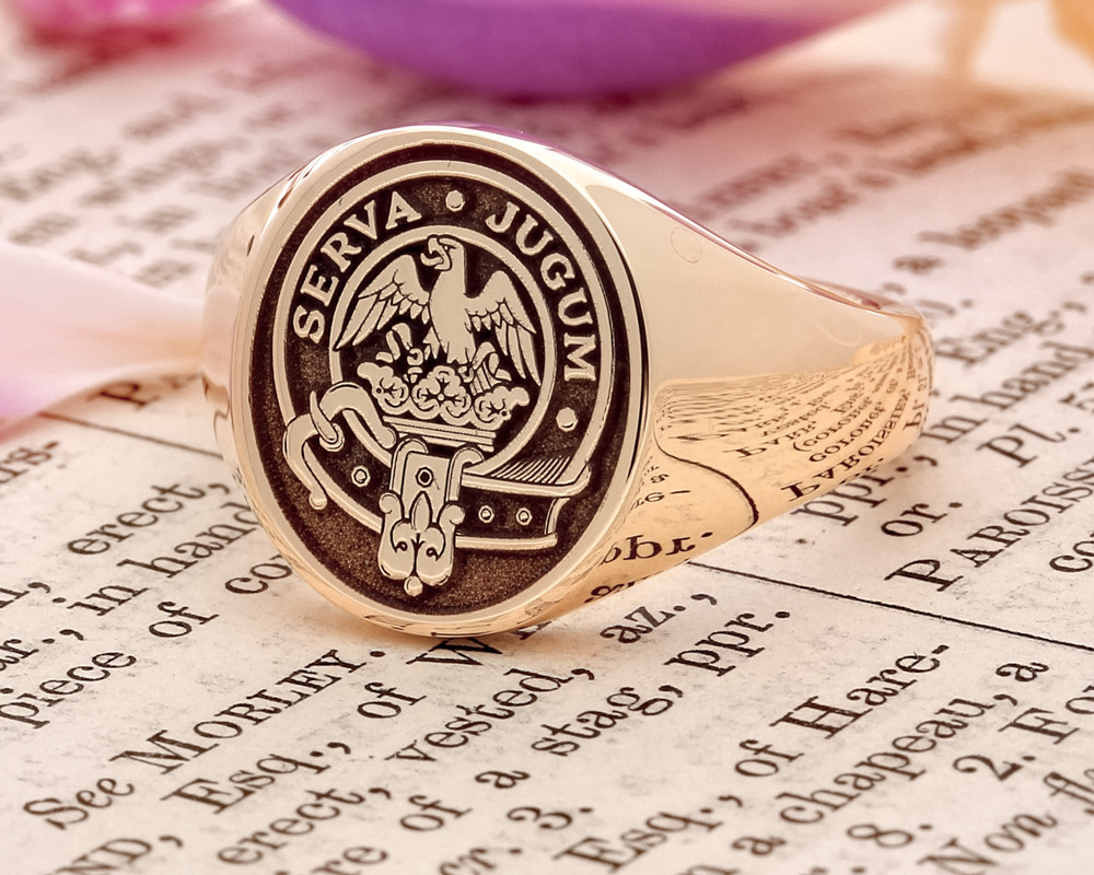 Hay Scottish Clan Signet Ring Silver or 9ct Gold (example oval 9ct gold negative)