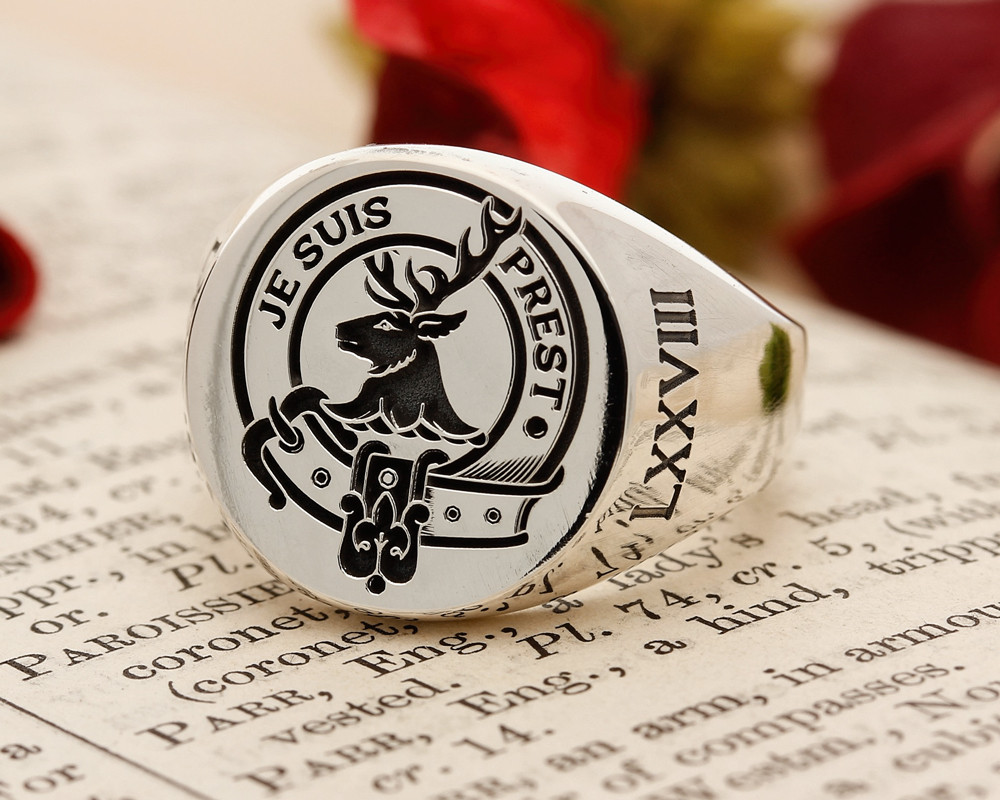 Fraser of Lovat Scottish Clan Signet Ring (example round positive oxidised)