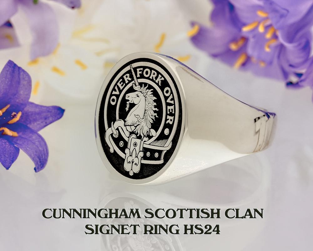 Cunningham Scottish Clan Signet Ring (example silver negative oxidised)