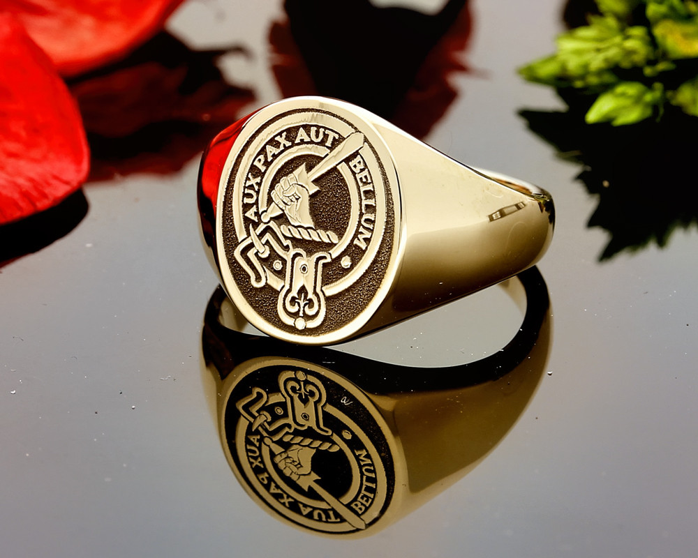 Gunn Scottish Clan Signet Ring (example 9ct gold negative aged)