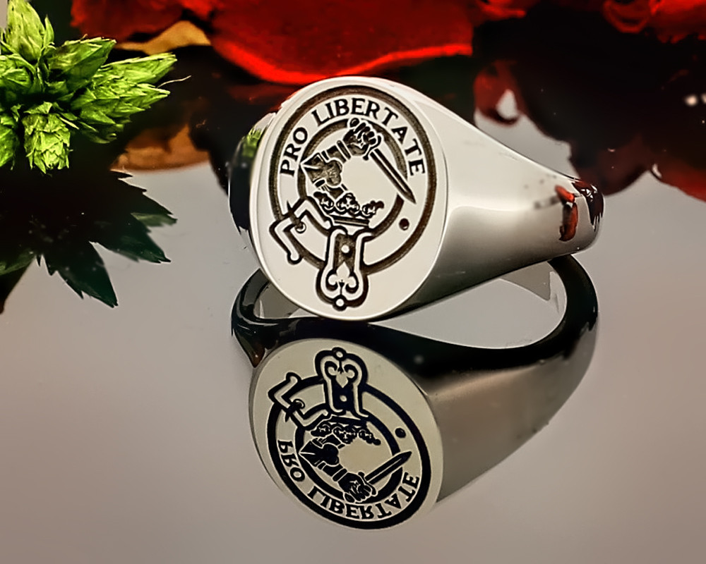 Wallace Scottish Clan Signet Ring (example silver round positive engraving)