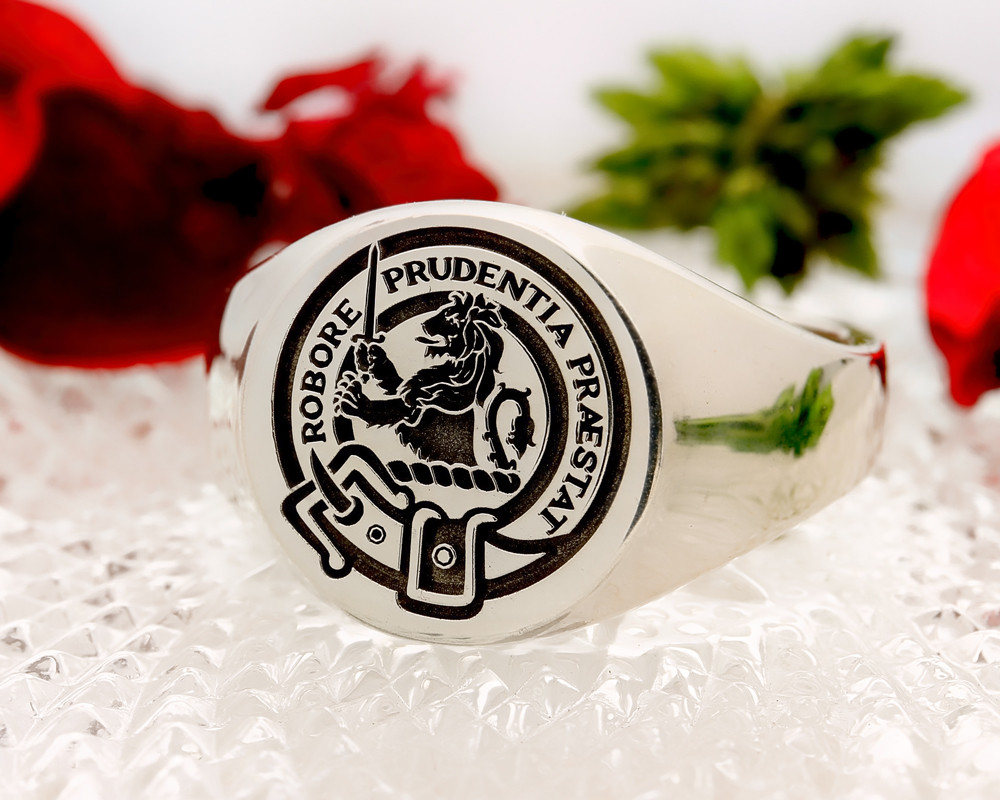 Young Scottish Clan Signet Ring (example silver round positive oxidised)