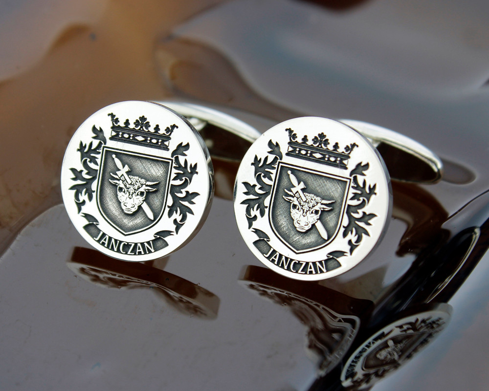 Select Gifts Heads England Family Crest Surname Coat Of Arms Cufflinks Personalised Case
