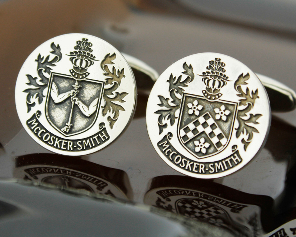 Select Gifts Bramhall England Heraldry Crest Sterling Silver Cufflinks Engraved Box