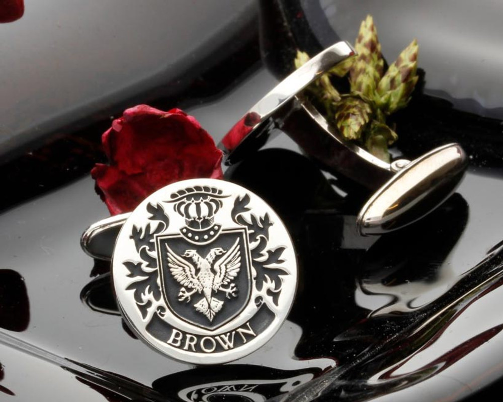 Brown Family Crest Mens Silver Cufflinks, laser engraved, positive oxidised