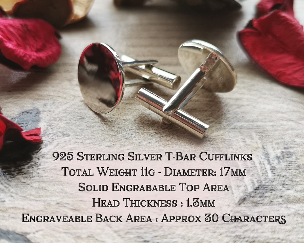 Your Own Design Double Engravable Cufflinks Sterling Silver or 9ct Gold