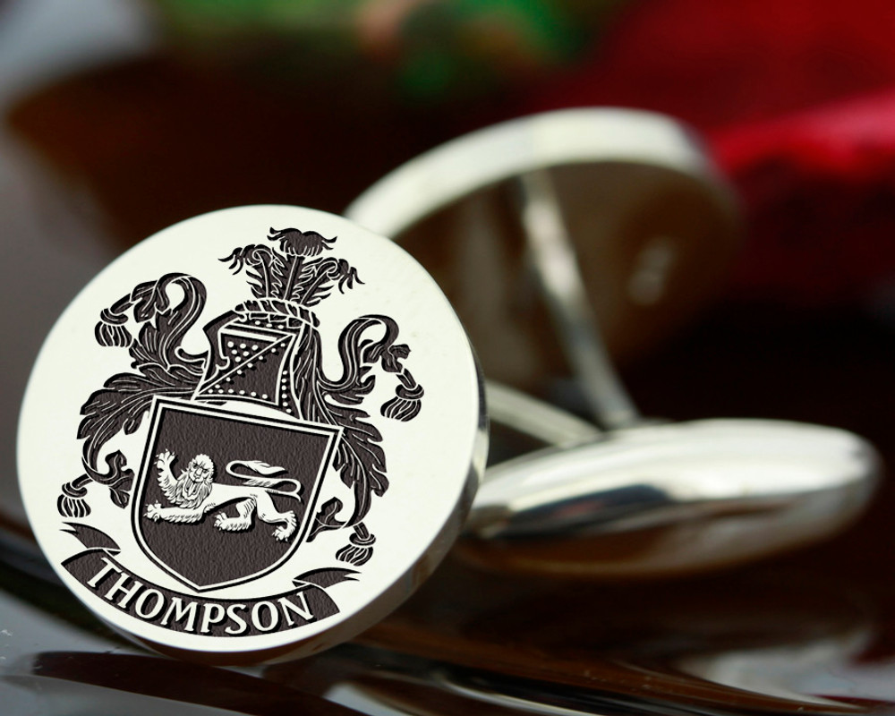 Select Gifts Thomson England Heraldry Crest Sterling Silver Cufflinks Engraved Message Box