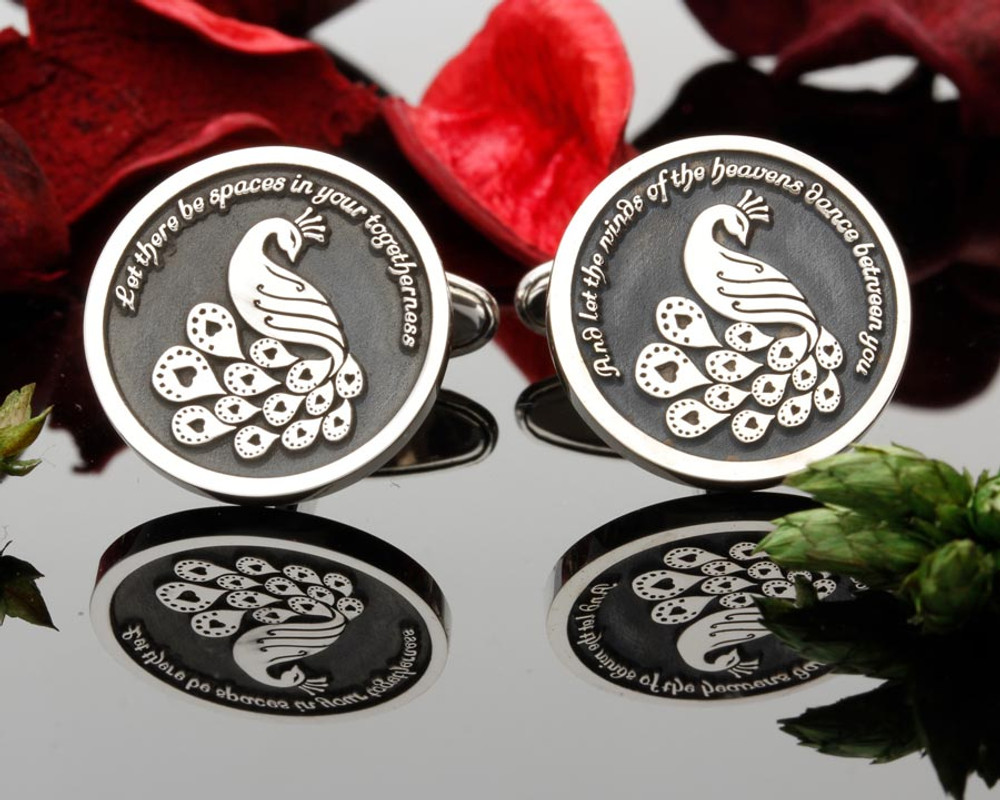 Love Peacock Silver cufflinks Personalised with text or initials Negative Engraving