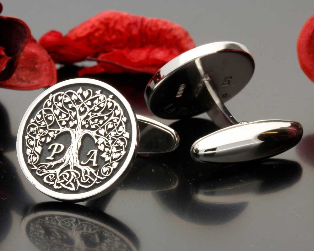 Love Heart Tree initials P A Negative Engraving