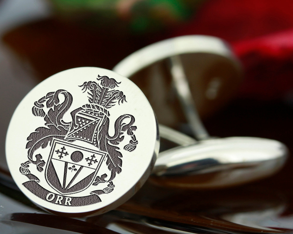 Select Gifts Buik Scotland Heraldry Crest Sterling Silver Cufflinks Engraved Message Box
