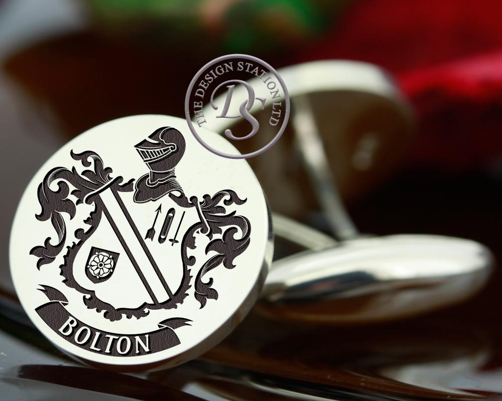 Bolton  Family Crest Mens Silver Cufflinks, laser engraved, oxidised ageing Design 84