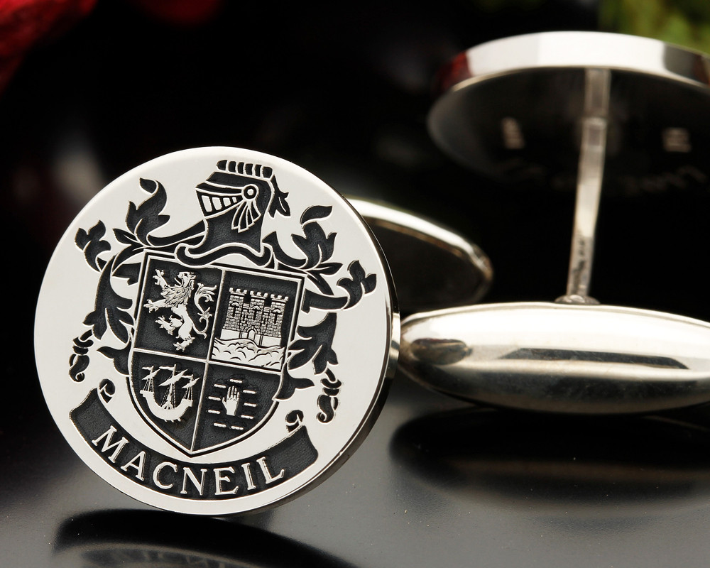 Select Gifts Macneil Scotland Heraldry Crest Sterling Silver Cufflinks Engraved Message Box