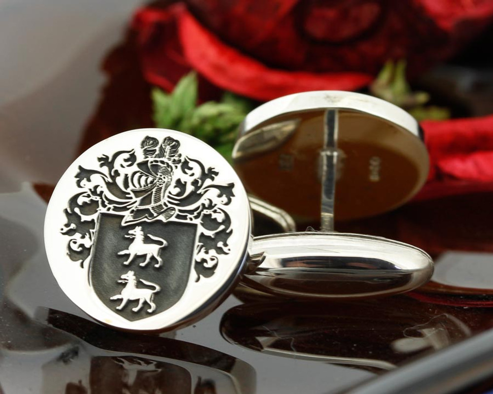 Select Gifts Harborne England Heraldry Crest Sterling Silver Cufflinks Engraved Box