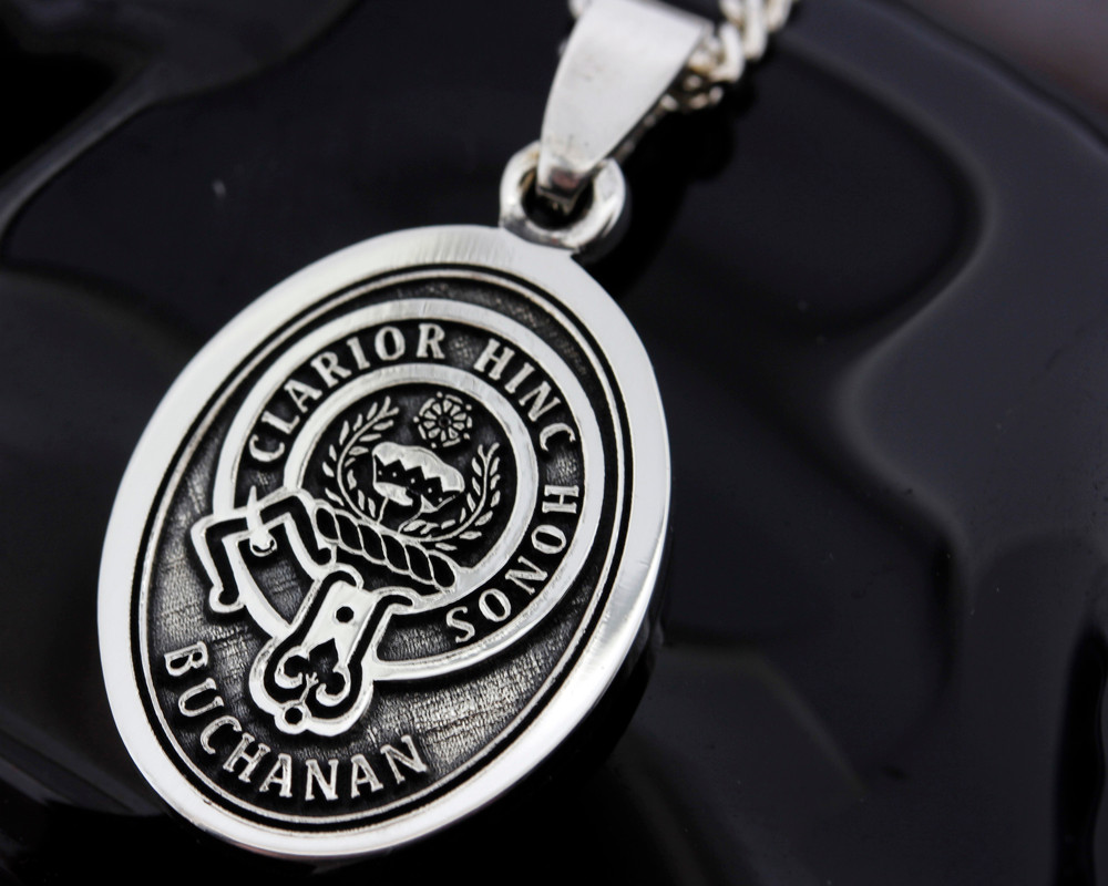 Scottish Clan Buchanan engraved onto Silver Oval Pendant.