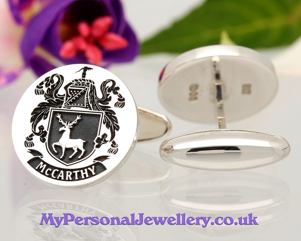Select Gifts Aston England Heraldry Crest Sterling Silver Cufflinks Engraved Message Box
