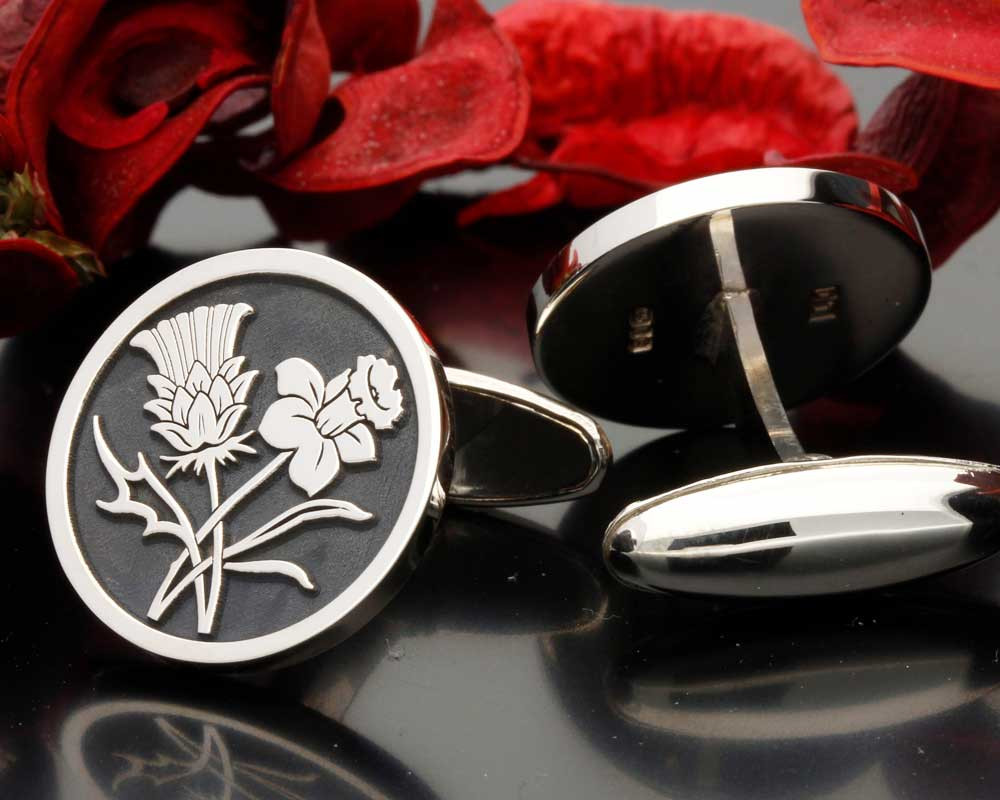 Scottish Thistle Welsh Daffodil Engraved Cufflinks