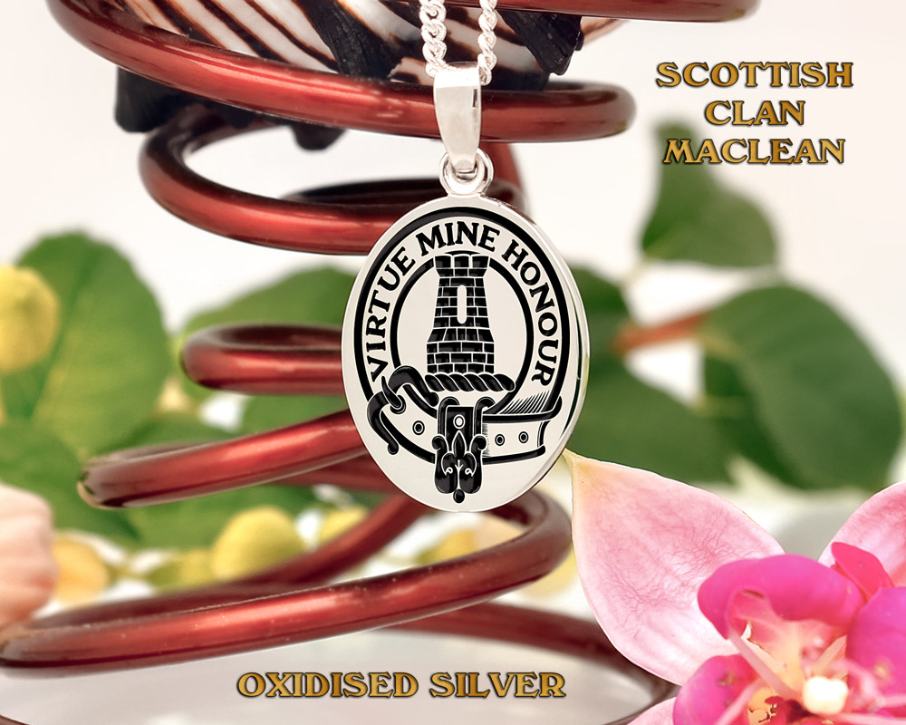 MacLean Scottish Clan Silver Oval Pendant