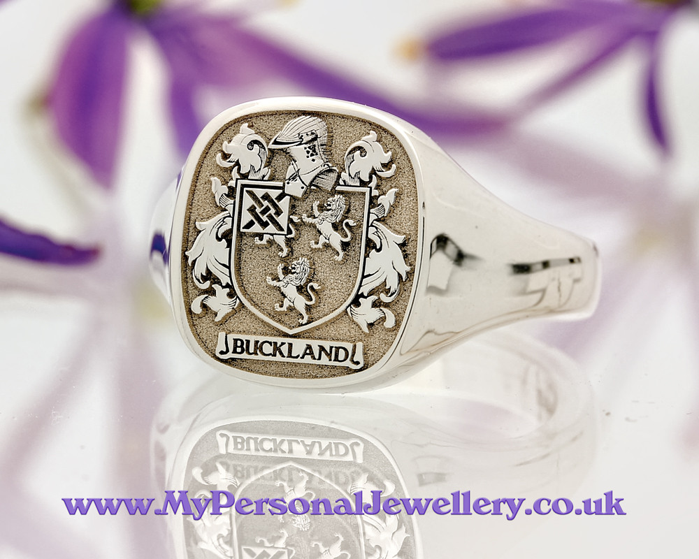 Signet Ring in Sterling Silver HS3 Buckland Family Crest