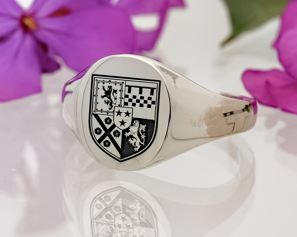 Family Crest Signet Ring HS8 Sterling Silver Positive Oxidised