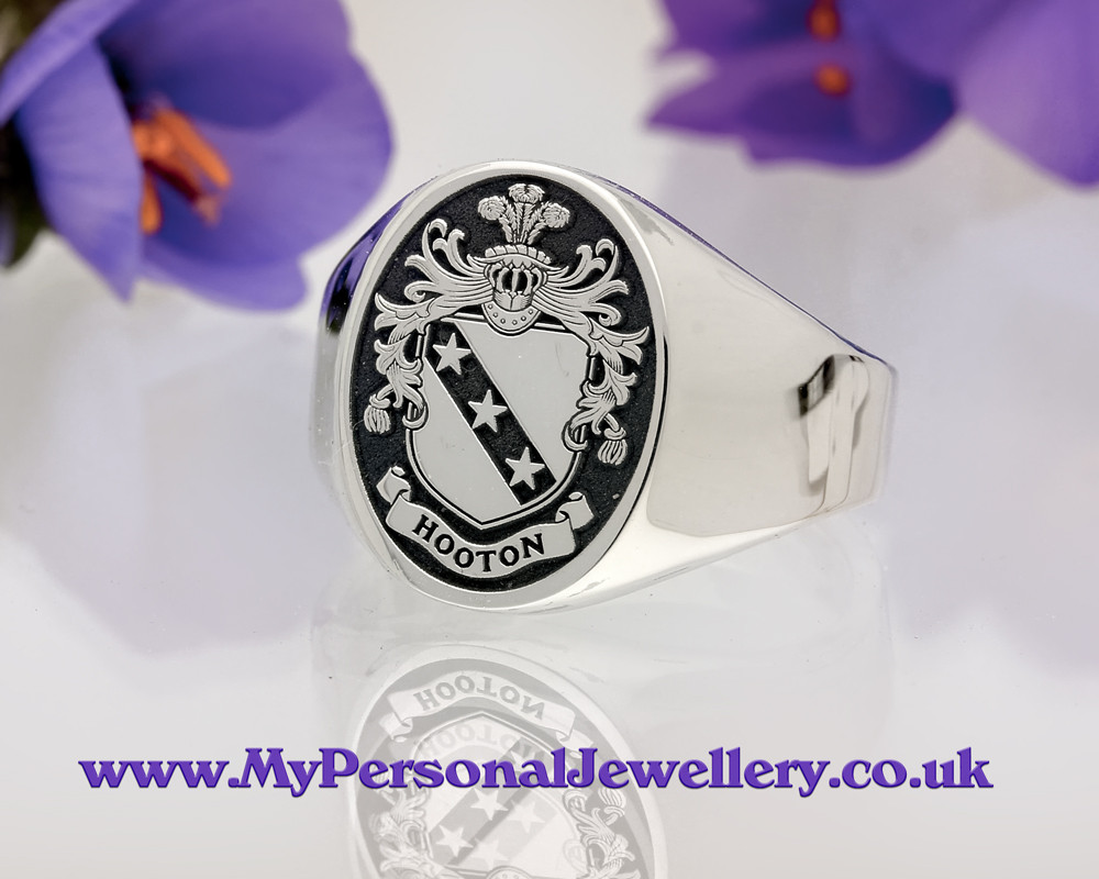 Family Crest Hooton Signet Ring HS5 Negative Oxidised Silver or 9ct Gold