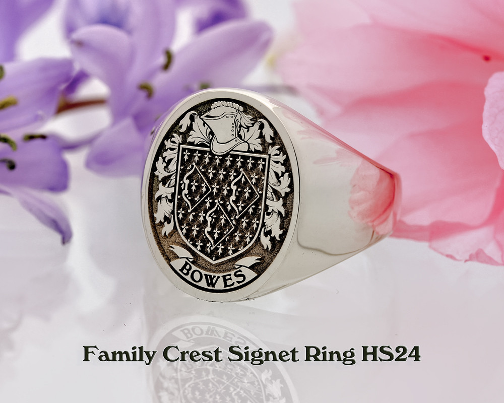 Bowes Family Crest Signet Ring Sterling Silver HS24 Negative Engraving oxydised