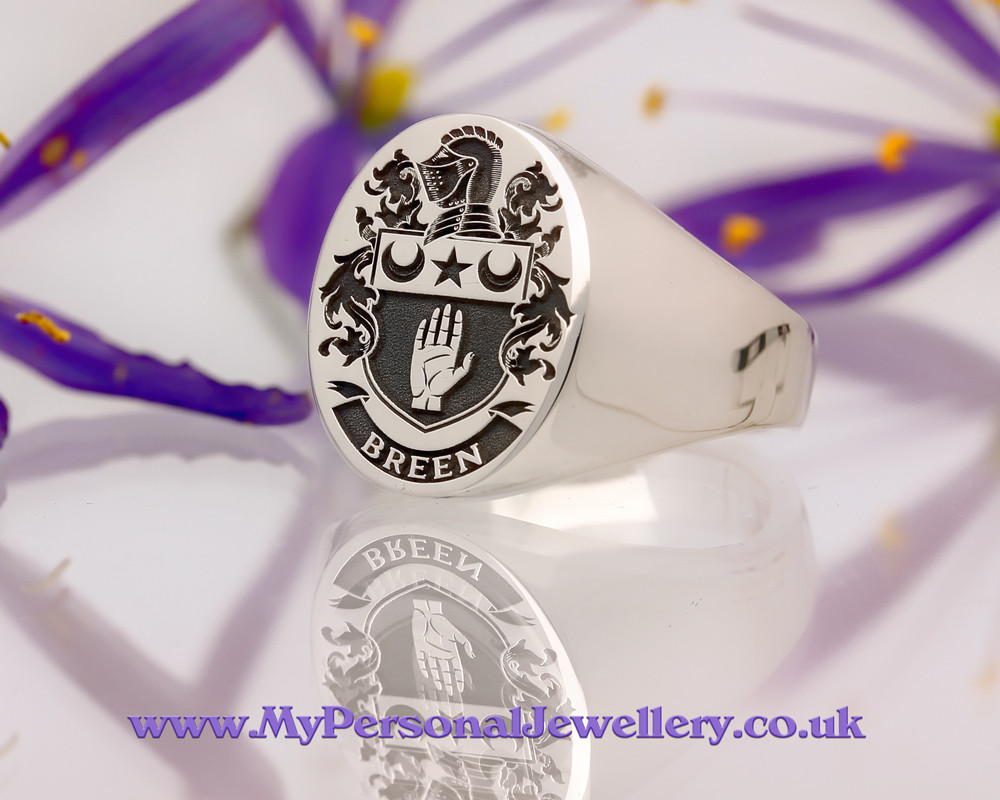 Family Crest Signet Ring BREEN Sterling Silver HS24 Positive Oxidised