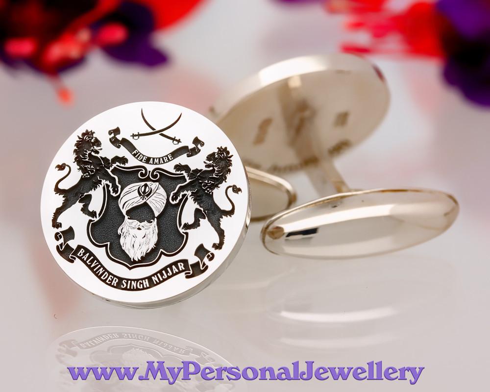 Seikh Design Personalised Silver Cufflinks