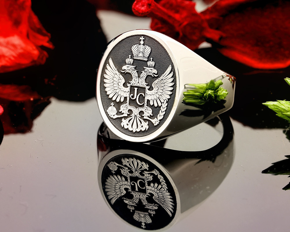 HS24 Silver Signet Ring Double Headed Eagle Negative Engraving.