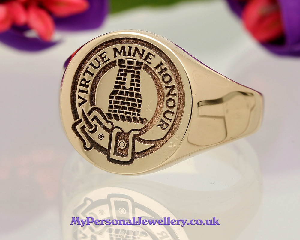 MacLean Scottish Clan Signet Ring 9ct Gold Positive Engraving