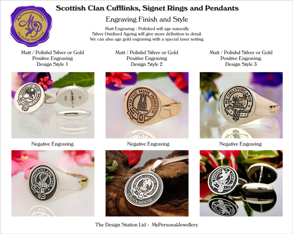Scottish Clan Signet Ring Round 16x16mm HS44 Silver or 9ct Gold from