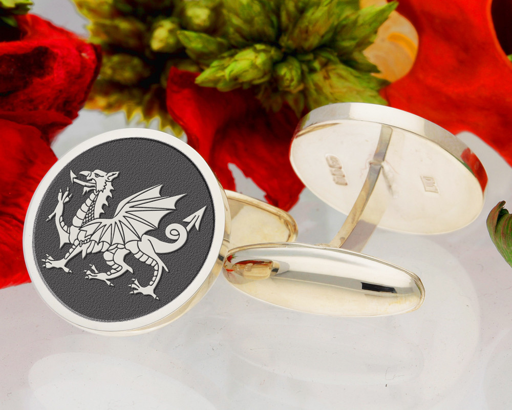 Welsh Dragon Laser Engraved Cufflinks - example shown as negative engraved with oxidised finish