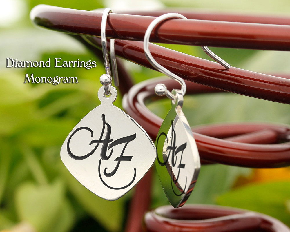 Diamond Personalised Monogram Silver Earrings
