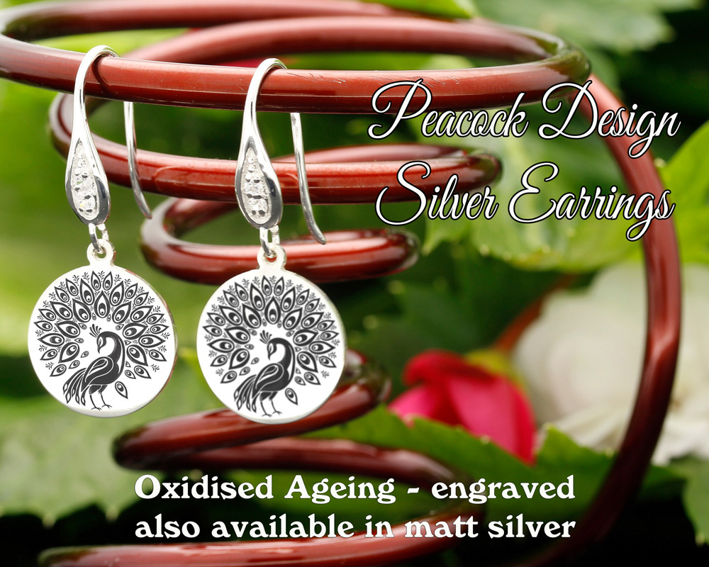Peacock design sterling silver earrings - engraved oxidised
