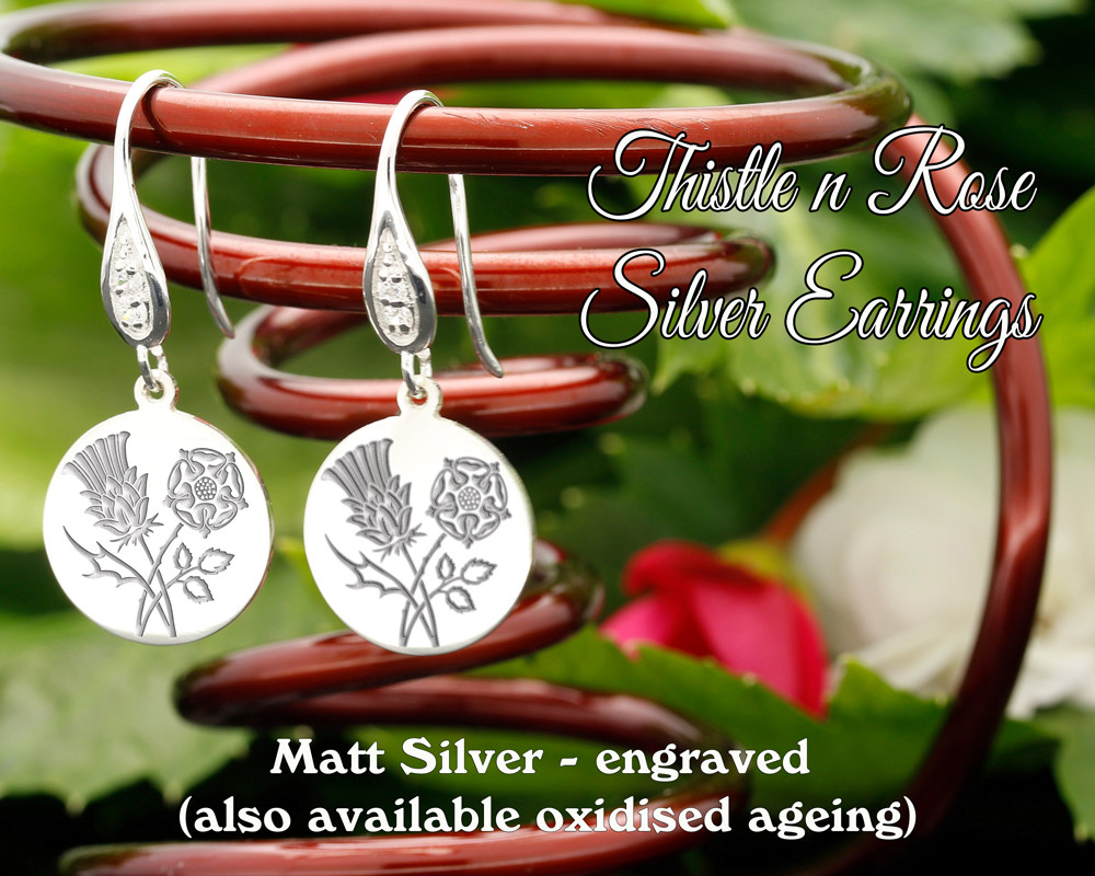 Thistle and Rose design sterling silver earrings - engraved matt silver