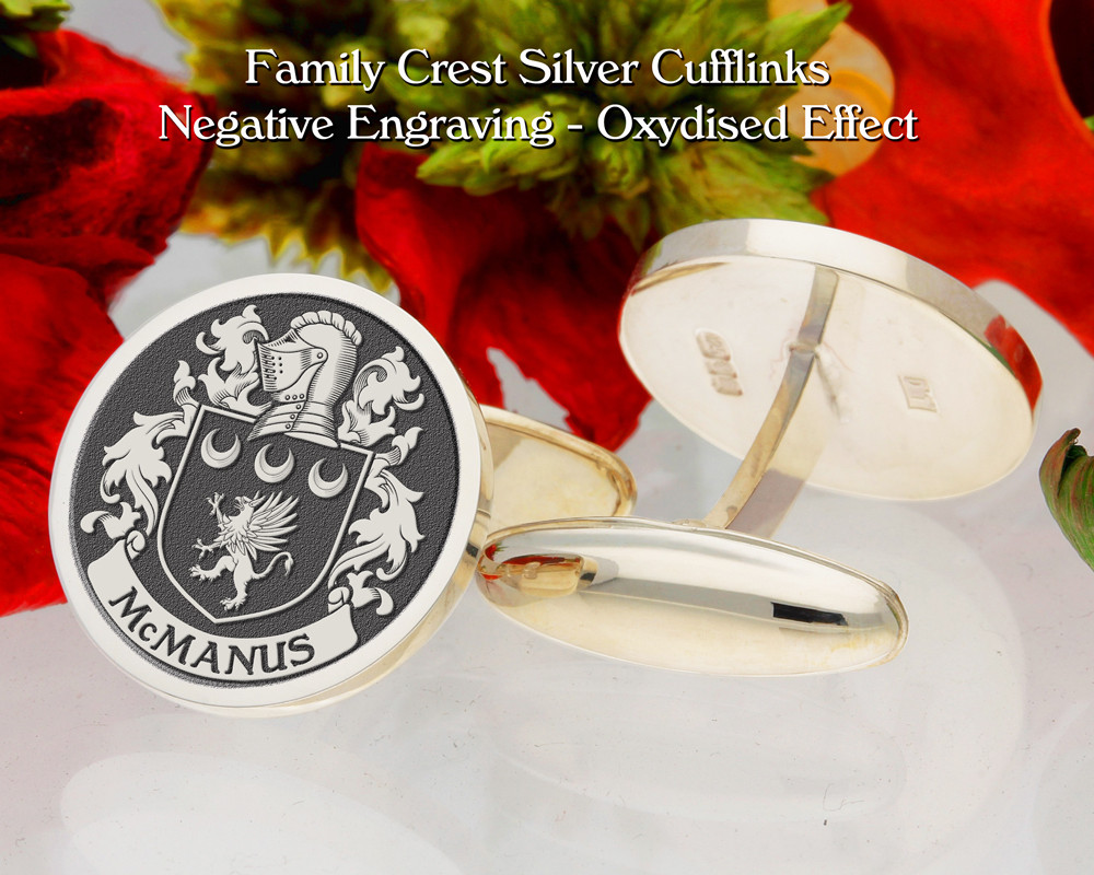 McManus Family Crest Cufflinks Oxidised Finish Negative Engraving