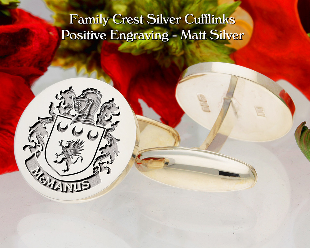 McManus Family Crest Cufflinks Matt Silver Positive Engraving