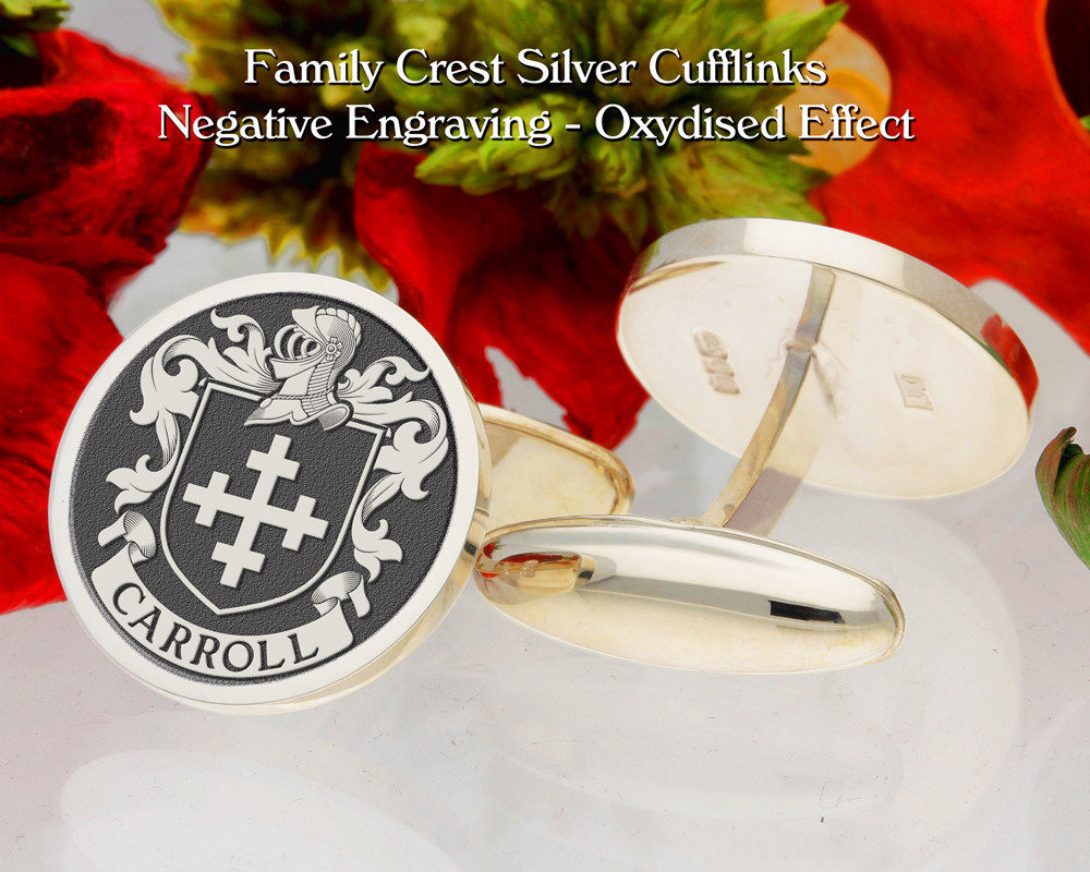 Carroll Family Crest Negative Oxidised