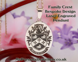 Custom Design Family Crest laser engraved pendant McDermott