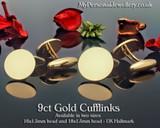 9ct Gold Cufflinks handmade in England Hallmarked
