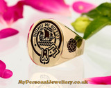 Wood Scottish Clan 9ct Gold Signet with shoulder engraving, Reversed