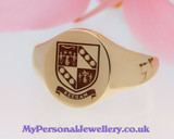Keegan Family Crest Signet Ring HS22 in 9ct Gold Positive Engraving