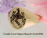 Family Crest Signet Ring HS6 9ct Gold engraved to order