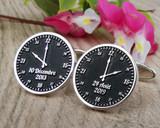 Bespoke Time and Date Clock Silver Cufflinks