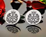 RAF Laser Engraved Silver Cufflinks, Positive Oxidised