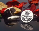 RAF Officers Cap Badge Silver Cufflinks Positive Engraving with Oxidised Finish.