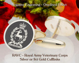 RAVC Royal Army Veterinary Corps V1 Silver or 9ct Gold Cufflinks
