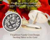 Fitzgibbon Family Crest Cufflinks Silver or 9ct Gold