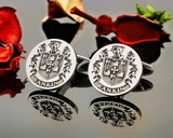 Rankin Family Crest Cufflinks available in Sterling Silver or 9ct Gold - shown positive matt silver