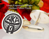 World Kickboxing Association WKA Silver Cufflinks Oxidised